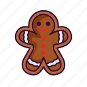 chocolate, christmas, cookie, gingerbeard, man icon