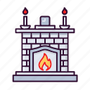 christmas, fire, fireplace, snow, warm, winter icon