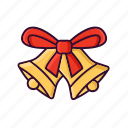 bell, celebration, christmas, ribbon, xmas icon