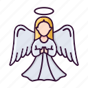 angel, christmas, pray, wings icon