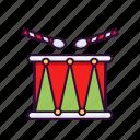 celebration, christmas, drum, music, party, xmas icon