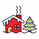 christmas, home, house, snow, winter, xmas icon