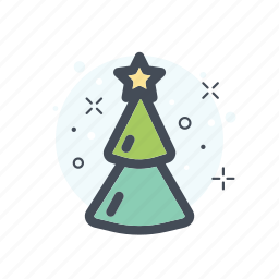 christmas, collor, filled, green, line, stars, tree icon