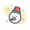 christmas, filled, line, snow, snowball, snowman icon