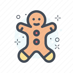 christmas, filled, gingger, gingger cookies, line icon