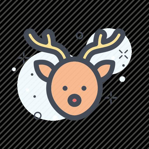 christmas, deer, filled, line, rednose, santa, santaclouse icon