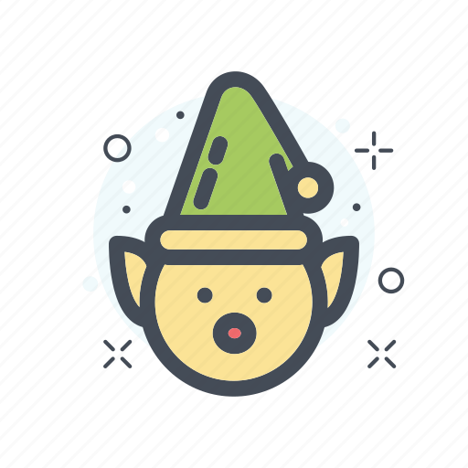 christmas, dwaft, filled, green, holliday, line icon
