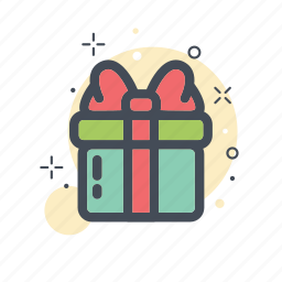 box, christmas, collor, filled, gift, line icon