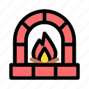 christmas, fire, fireplace, furnace, interior, warm, x-mas icon