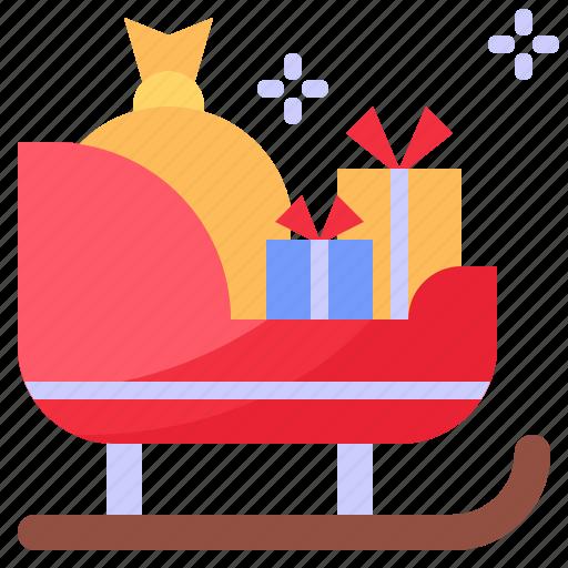 christmas, gift, sleign, xmas icon