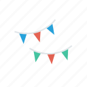 bunting, celebration, decoration, flags icon