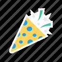 cone, confetti, party, popper