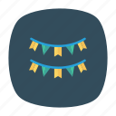 bunting, celebration, decoration, party icon
