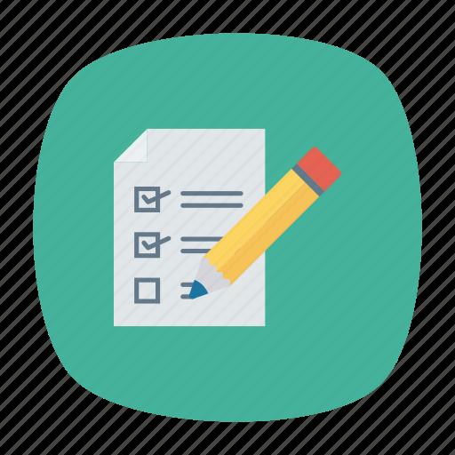 checklist, document, page, pencil icon