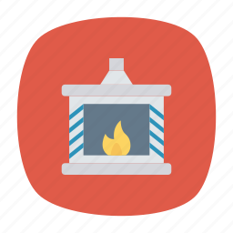 chimney, fire, house, winter icon