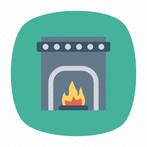 chimney, firehouse, flame, winter icon