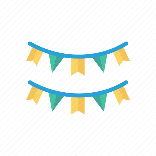 bunting, celebration, decoration, party icon
