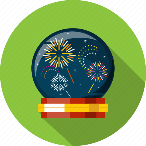 fireworks, globe, night, present, snow, winter, xmas icon