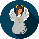 angel, cherub, cross, faith, religion icon