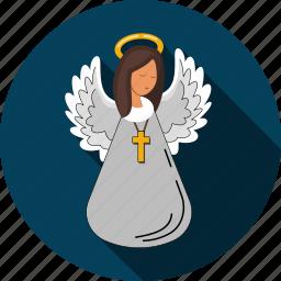 angel, cherub, cross, faith, religion icon