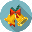 bells, bow, branches, christmas, fir, decoration, holiday