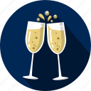 bubbles, carbonation, champagne, fizz, glasses icon
