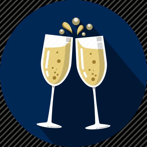 bubbles, carbonation, champagne, fizz, glasses icon
