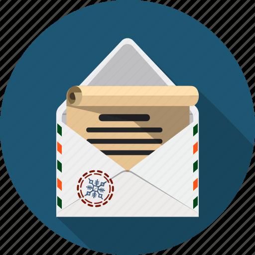 christmas, correspondence, email, envelope, letter, message, postal icon