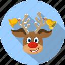 christmas, deer, holiday, nose, reindeer, smile, happy
