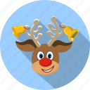 christmas, deer, fun, holiday, nose, reindeer, smile icon