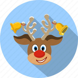 christmas, deer, happy, holiday, nose, reindeer, smile icon