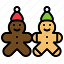 christmas, food, gingerbread man, biscuits, cookies icon