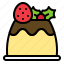 christmas, food, pudding, custard, caramel icon