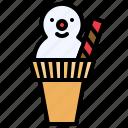 christmas, food, icecream cone, waffle, wafers, xmas, snowman
