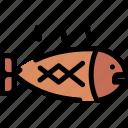 christmas, fish, fried, salmon icon