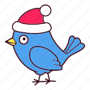 bird, christmas, hat, santa, winter icon