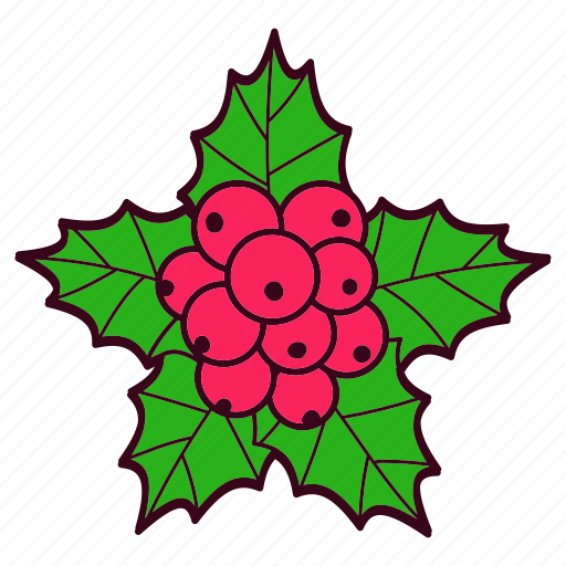 berries, christmas, leaves, mistletoe, tradition icon