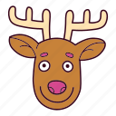 animal, antlers, christmas, deer, face, reindeer icon
