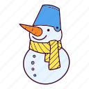 bucket, christmas, scarf, snowman, winter icon