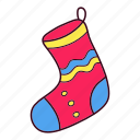 christmas, gift, sock, winter icon