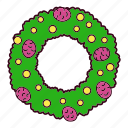 christmas, decoration, ornament, pine, pinecone, wreath icon