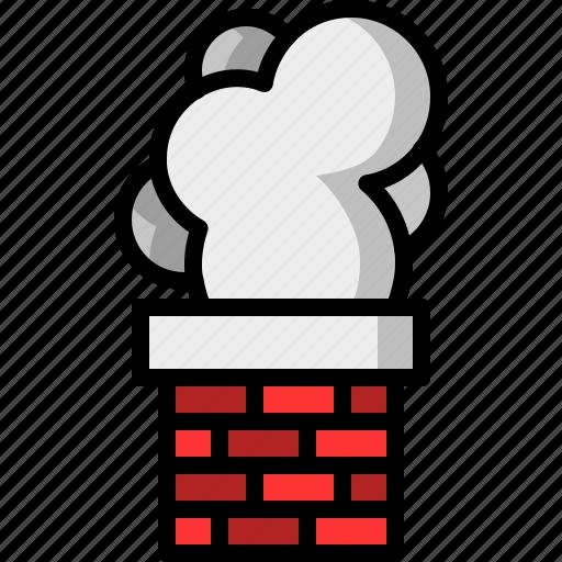 brick, chimney, christmas, santa claus, smoke icon
