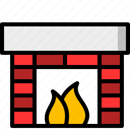 brick, christmas, fire, fireplace, socks icon
