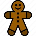 christmas, cookie, ginger, gingerbread, man icon