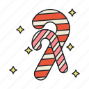 candy, cane, christmas, dessert, holiday, sweet icon