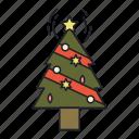 christmas, decoration, holiday, star, tree icon