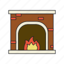 fireplace, warm, winter icon
