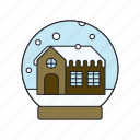 decoration, glass, house, snowball, winter icon
