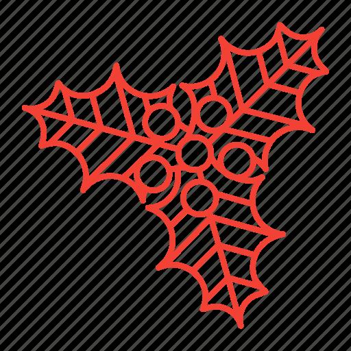 christmas, mistletoe icon