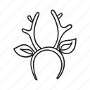 antler, christmas, contour, deer, hand drawn, holiday, new year icon